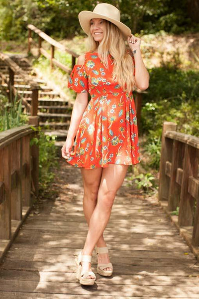 Dresses Heating Up The Cold Shoulder Orange Print Dress - Lotus Boutique