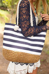 Accessories Anchors Away Braided Bottom Navy and White Stripe Bag - Lotus Boutique