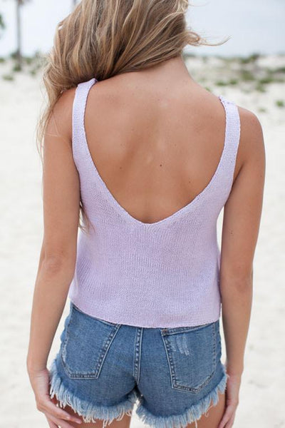 Tops Lovely Lavender Sweater Tank - Lotus Boutique