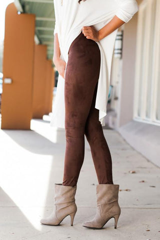 Suede My Way Brown Suede Leggings
