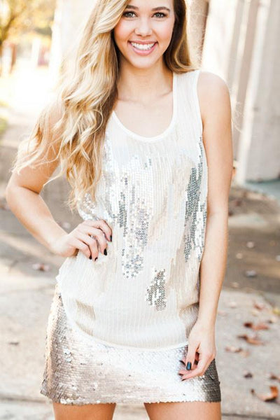 New Arrivals Bombs-Away Sequin Tank - Lotus Boutique