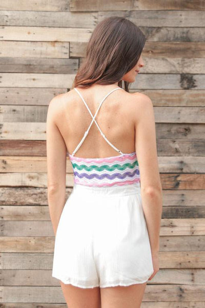 Playsuits Sugar Sweet RicRac Top White Romper - Lotus Boutique