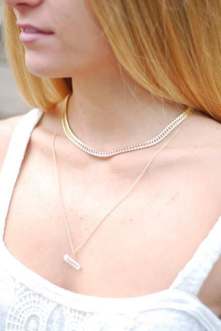 Gold Double Layered Separated Necklace