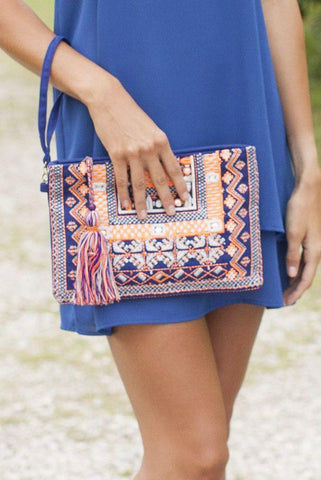 Woven War Eagle Blue and Orange Bead Work Clutch