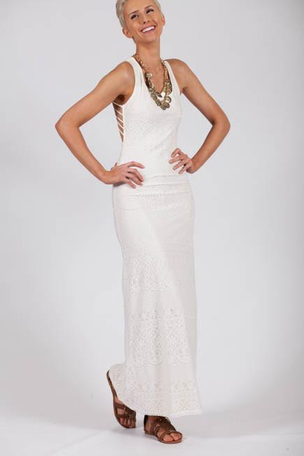 Dresses Criss Cross the Line Backless Ivory Lace Maxi Dress - Lotus Boutique