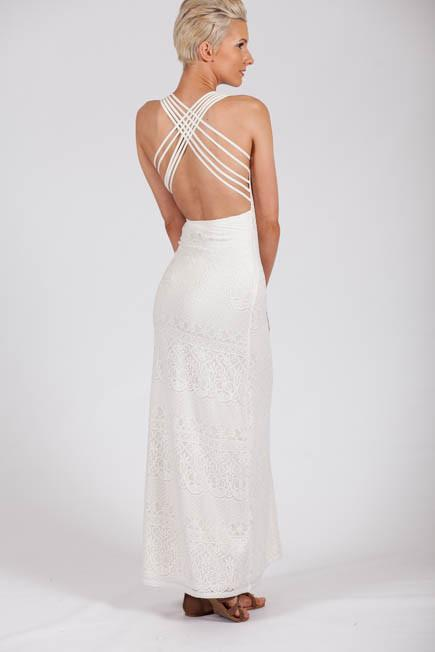 Criss Cross the Line Backless Ivory Lace Maxi Dress-Dresses-Lotus Boutique-Lotus Boutique