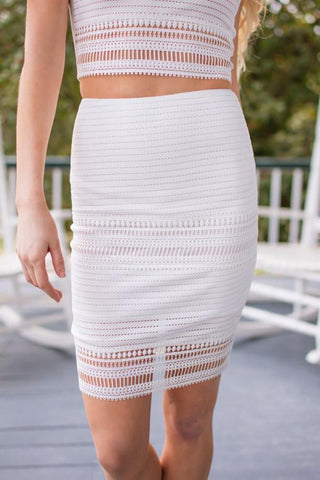Sippin' On Moscato Ivory Crochet Matching Set - Skirt
