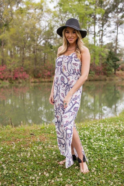 Dresses Jane Eyre Ivory Paisley Printed Maxi Dress - Lotus Boutique
