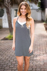 Just Keep Going Navy Striped Dress