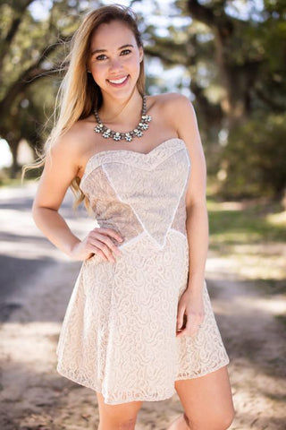 Be My Sweetheart Shades Of Taupe Woven Dress