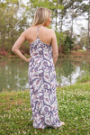 Jane Eyre Ivory Paisley Printed Maxi Dress-Dresses-Lotus Boutique-Lotus Boutique