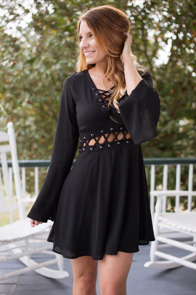 Dresses Make Me a Bird Black Fit and Flare Lace Up Dress - Lotus Boutique