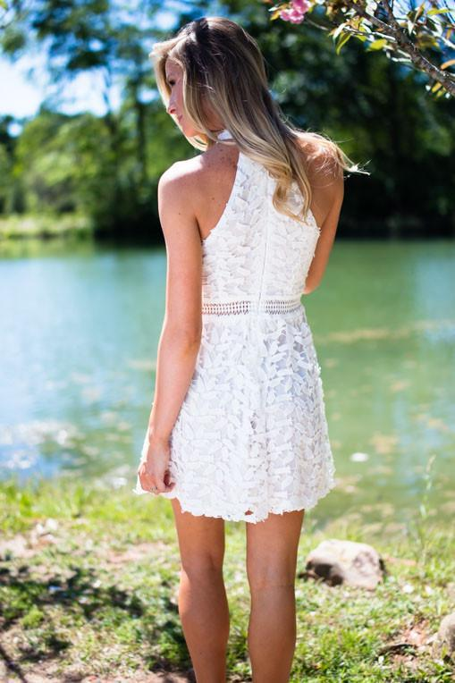 Dresses All Things in Bloom White Lace Fit and Flare Dress - Lotus Boutique