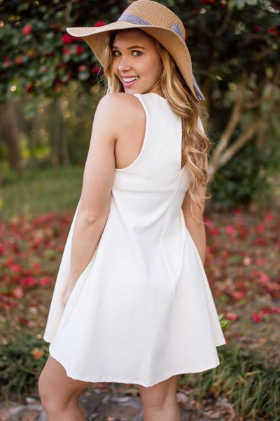 Ivory Roses Keyhole Swing Dress-Tops-Lotus Boutique-Lotus Boutique