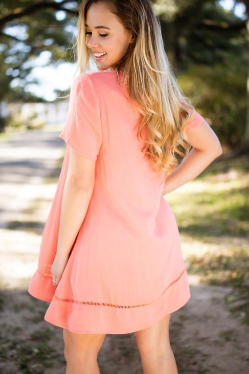 Dresses Coral of the Story Capsleeve Tunic Dress - Lotus Boutique