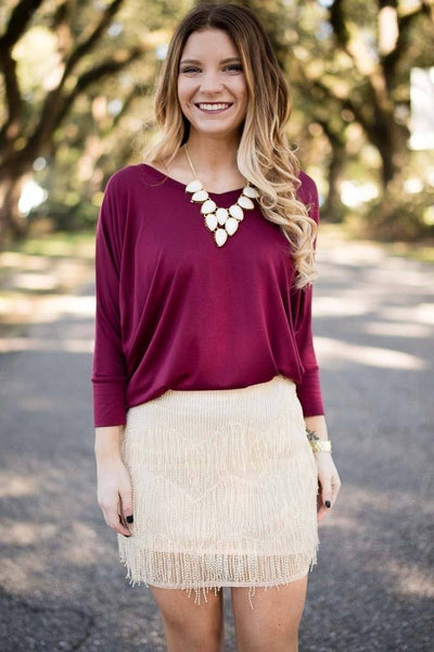 Top I'm Thrilled You Called Wine Dolman Sleeve Top - Lotus Boutique