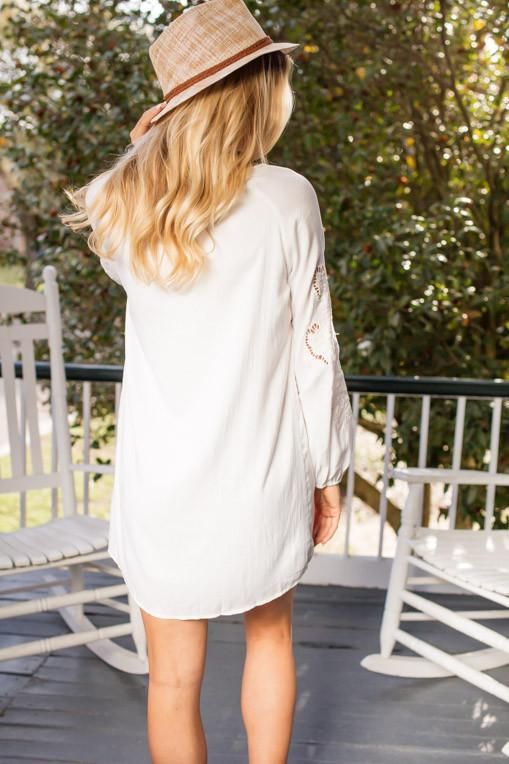 Dresses Little White YES Embroidered Long Sleeve White Dress - Lotus Boutique