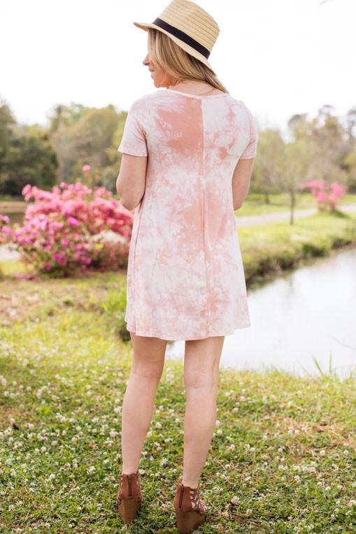 Sense and Sensibility Peach Tie Dye T-Shirt Dress-Dresses-Lotus Boutique-Lotus Boutique