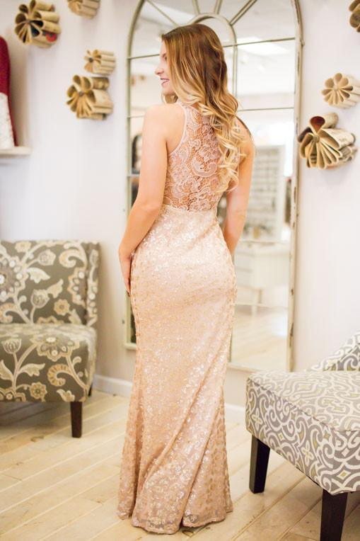 Dresses Trust Your Blush Sequin and Lace Maxi Gown - Lotus Boutique