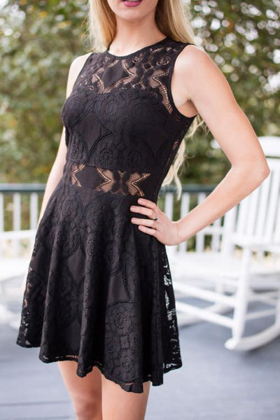 Stunning in Black Lace Fit and Flare Dress-Dresses-Lotus Boutique-Lotus Boutique