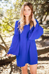 Dresses Royalty Awaits Royal Blue Bell Sleeve Dress - Lotus Boutique