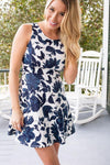 Dresses X's and O's Navy Floral Fit And Flare Dress - Lotus Boutique