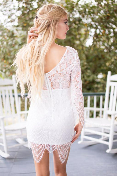 Dresses Only for the Hottest Ivory Lace Longsleeve Bodycon Dress - Lotus Boutique