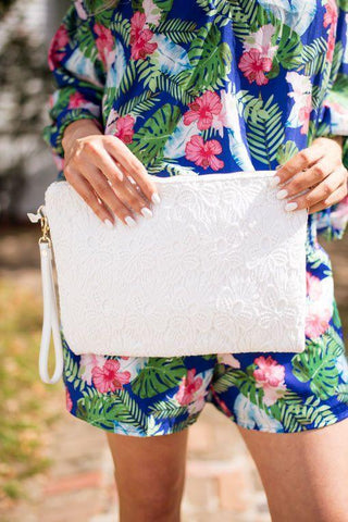 The Finer Things White Lace Shoulder Bag