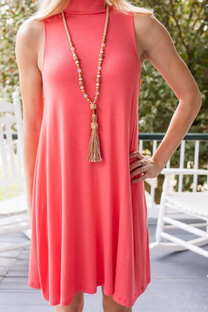 Set Me Free Coral Swing Dress-Dresses-Lotus Boutique-Lotus Boutique
