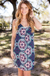 Dresses Shifting into Spring Blue Printed Shift Dress - Lotus Boutique
