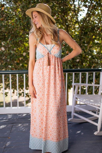 Dresses Summer Obsession Peach and Blue Maxi Dress - Lotus Boutique