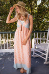 Summer Obsession Peach and Blue Maxi Dress-Dresses-Lotus Boutique-Lotus Boutique