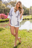 Classic Status White and Navy Embroidered Romper