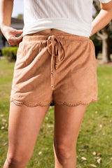 Simple and Chic Scalloped Suede Shorts