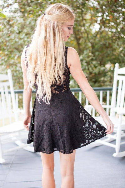 Dresses Stunning in Black Lace Fit and Flare Dress - Lotus Boutique