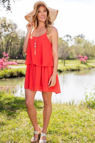 Grapefruit Sunrise Layered Spring Dress-Dresses-Lotus Boutique-Lotus Boutique