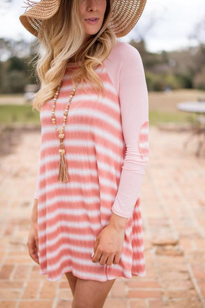 Dresses Single for the Summer Coral Tie Dye Striped Swing Dress - Lotus Boutique