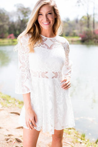 Call Me Lacey White Lace Fit and Flare Dress