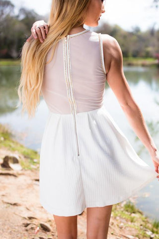 Anything But Ordinary White Fit and Flare Sheer Back Dress