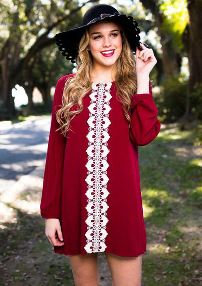 Sweetest Disposition Wine Shift Dress-Dresses-Lotus Boutique-Lotus Boutique