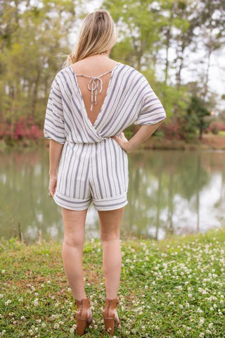 Delightful Sprite Off White Striped Romper