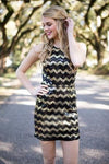 Dresses The Night is Young Black and Gold Chevron Sequin Dress - Lotus Boutique