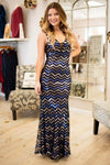 Dresses Living in a Fairty Tale Blue and Sequin Chevron Maxi Gown - Lotus Boutique