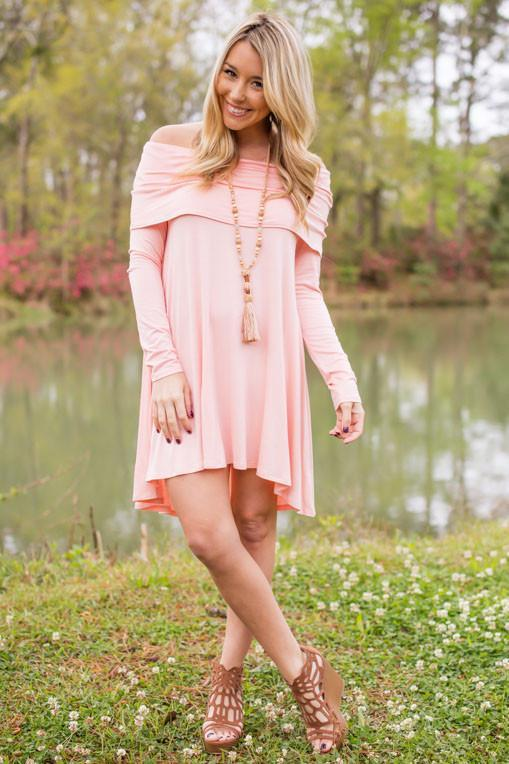 Wish Upon My Heart Off Shoulder Dress- Peach