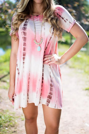 Our Lotus Best Coral and Brown Tie Dye Dress-Dresses-Lotus Boutique-Lotus Boutique