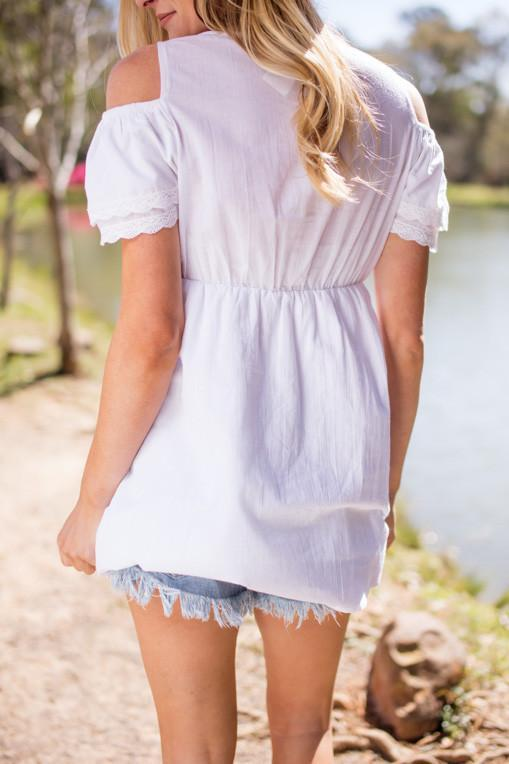 Tops Life is Grand White Off Shoulder Tunic - Lotus Boutique