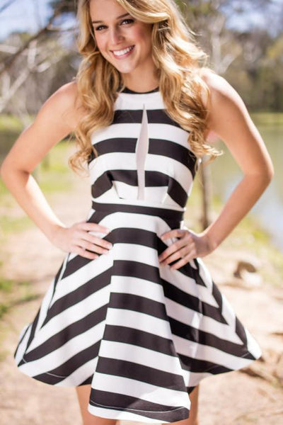Dresses All In Good Fun Stripe Fit and Flare Dress - Lotus Boutique