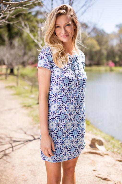 Dresses Always There Blue and White Lace Up Dress - Lotus Boutique