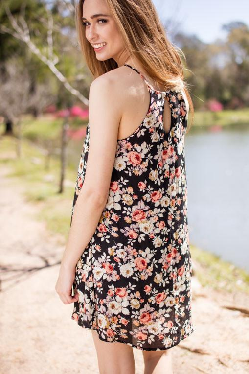 Dresses Keeping Up with You Black Floral Dress - Lotus Boutique