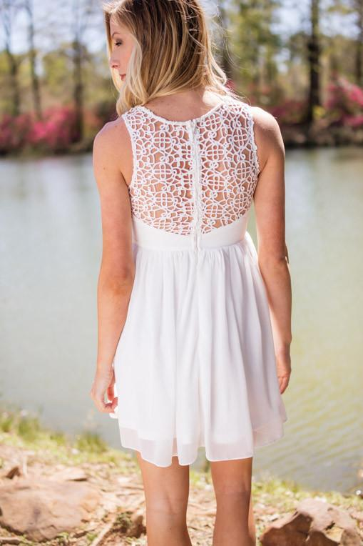 Dress When I Want The Best White Dress With Lace Trim - Lotus Boutique